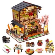 DIY Miniature Dollhouse Kit Vintage 3D Model Building Japanese Sushi Restaurant Birthday Gift Wooden Large Doll House Furniture
