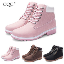 Купить с кэшбэком OQC Non-slip Martin Boot New Winter Lace-up Low Heel Martin Ankle Boot Go Out Combat Motorcycle Flat Boot Casual Women Shoes D25