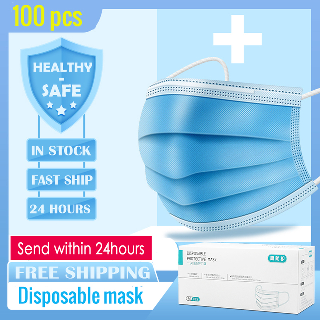 100pcs 3 Layers Disposable Dust Mouth Mask Anti-Pollution Protective Face Masks Safety Elastic Ear Loop PM2.5 soft Face Masks