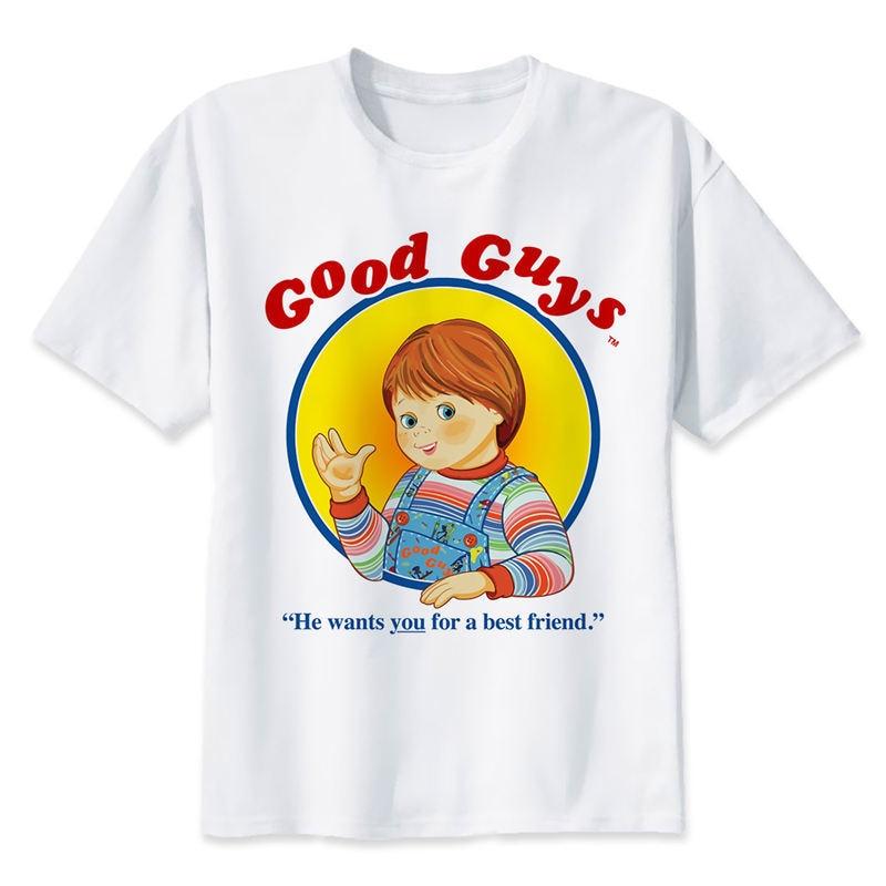 chucky T Shirt men Summer fashion High Quality t-shirt casual white print O-Neck print male men top tees