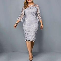 6XL элегантное женское платье размера плюс прозрачный с рукавами Вечерние платья осенние женские длиной до колен, платье с высокой талией ...
