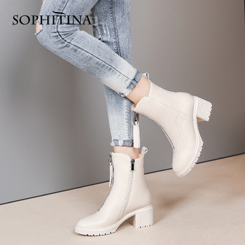 Women Boots High Quality Warm Genuine Leather Middle High Boots Platform Zipper Square Thick Heel Shoes Women SO637 Apparels Shoes