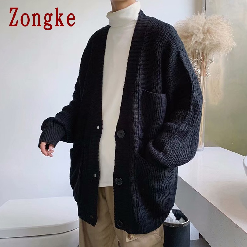 Zongke 2020 New Spring Solid Casual Sweater Men Coat Thick Cardigan Men Fashion Sweater For Mens Cardigan Slim Fit Warm M-2XL