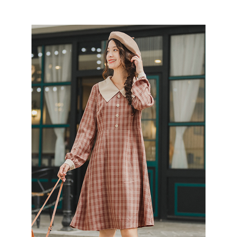 INMAN Autumn Winter New Arrival Vintage Literature Turn-down Collar Long Sleeve Plaid Dress