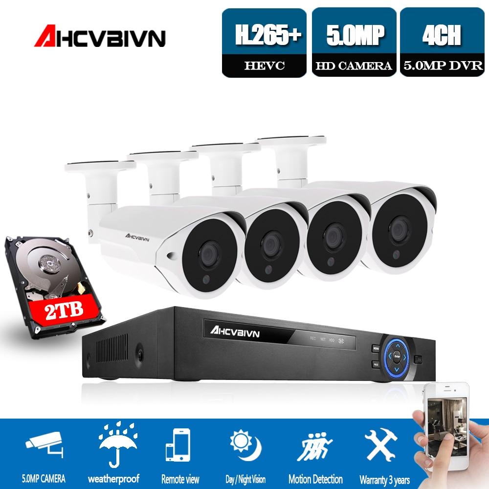 4ch 5mp ahd dvr kit plug and play cctv sistema super hd 5mp à prova de intempéries câmera de segurança 3.6mm lente câmera de vigilância de vídeo conjunto