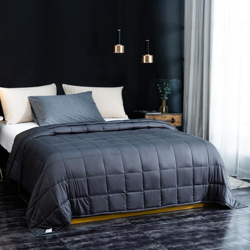 Sleep aid ponderada cobertor 20 lbs 15 lbs contas de vidro adulto crianças 100% algodão colcha pesada para o autismo ansiedade insônia rei rainha - 4