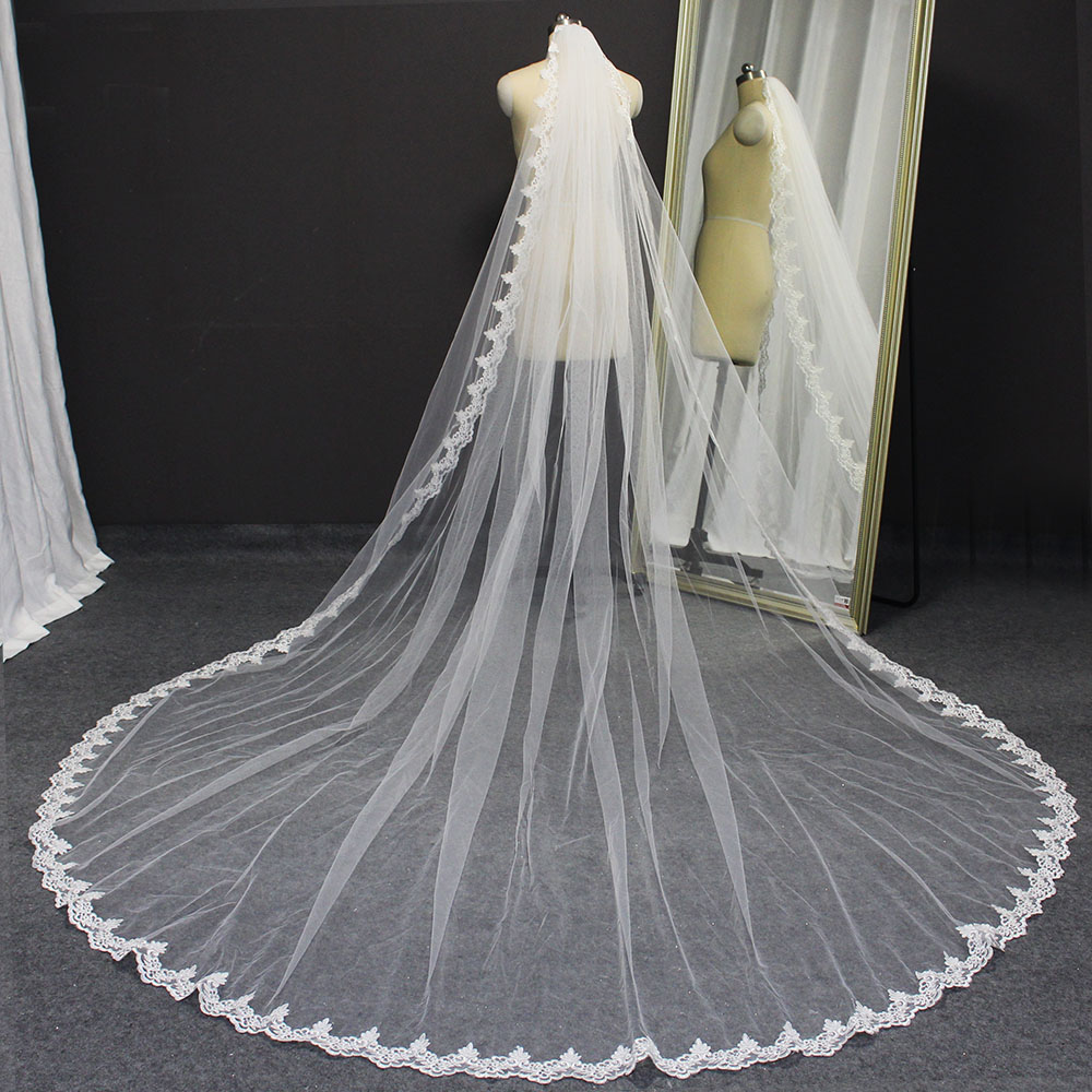 Real Photos Lace Cathedral Wedding Veil 1 Layer 3 Meters White Ivory Bridal Veil with Comb Wedding Accessories