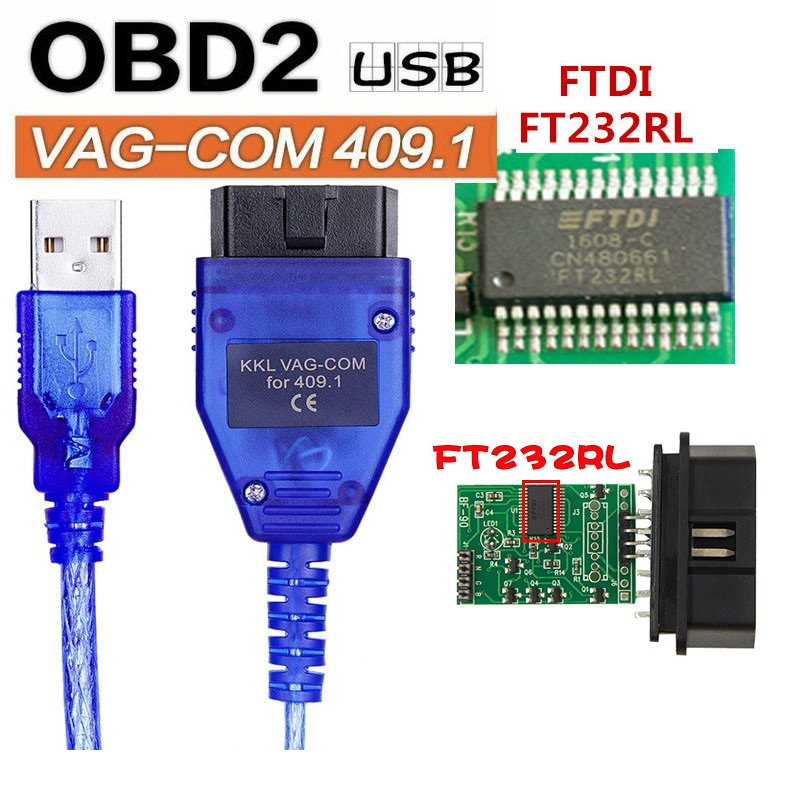 OBD2 FT232RL <font><b>Vag</b></font>-Com Interface Cable KKL VAGCOM 409.1 Car Auto USB <font><b>obd</b></font> 2 <font><b>OBD</b></font> Diagnostic Scanner <font><b>Vag</b></font> Usb Cable Interface Tool image