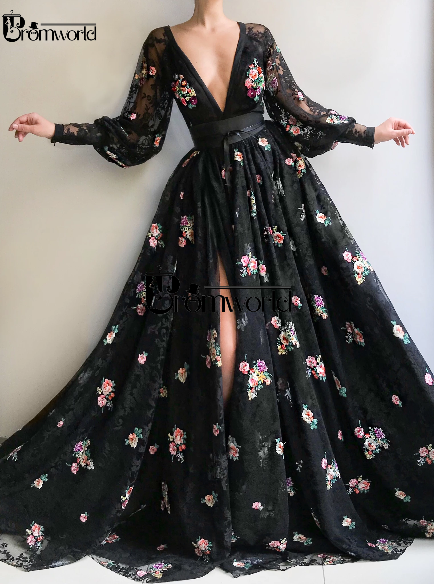 Zwart Sexy Kant Avondjurk 2020 V-hals Borduren Bloemen Formele Jurk Hoge Split Elegante Lange Mouwen Evening Prom Jassen