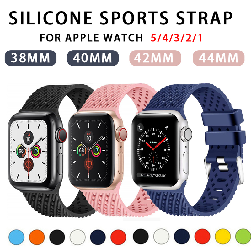 Strap For Apple Watch Band 5 4 44mm 40mm Iwatch Band 38mm 42mm Rhombic Pattern Silicone Watchband Bracelet Apple Watch 4 3 Band