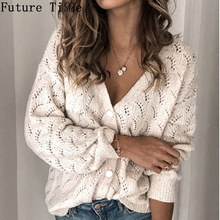 Future Time Hollow Out Button Sweaters Reversible Cardigan Solid Women Casual Lo