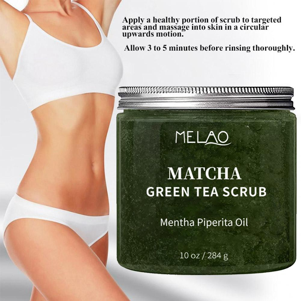 New Matcha Green Tea Body Scrub Exfoliating Deep Cleansing Brightening Moisturizing Rejuvenation Reduce Cellulite Skin Care 284g