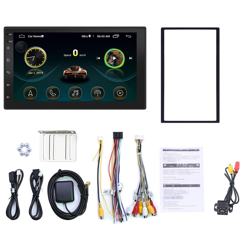 7 Inch 2Din Android 8.1 Car Stereo MP5 Player FM Radio GPS WiFi BT Head Unit With Camera