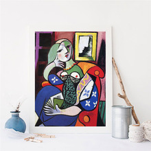Picasso Woman With A Book Wall Art Canvas Poster and Print Canvas Painting Decorative Picture Living Room Home Decor Framework sleeping sexy model wall art canvas poster and print canvas painting decorative picture modern living room home decor framework