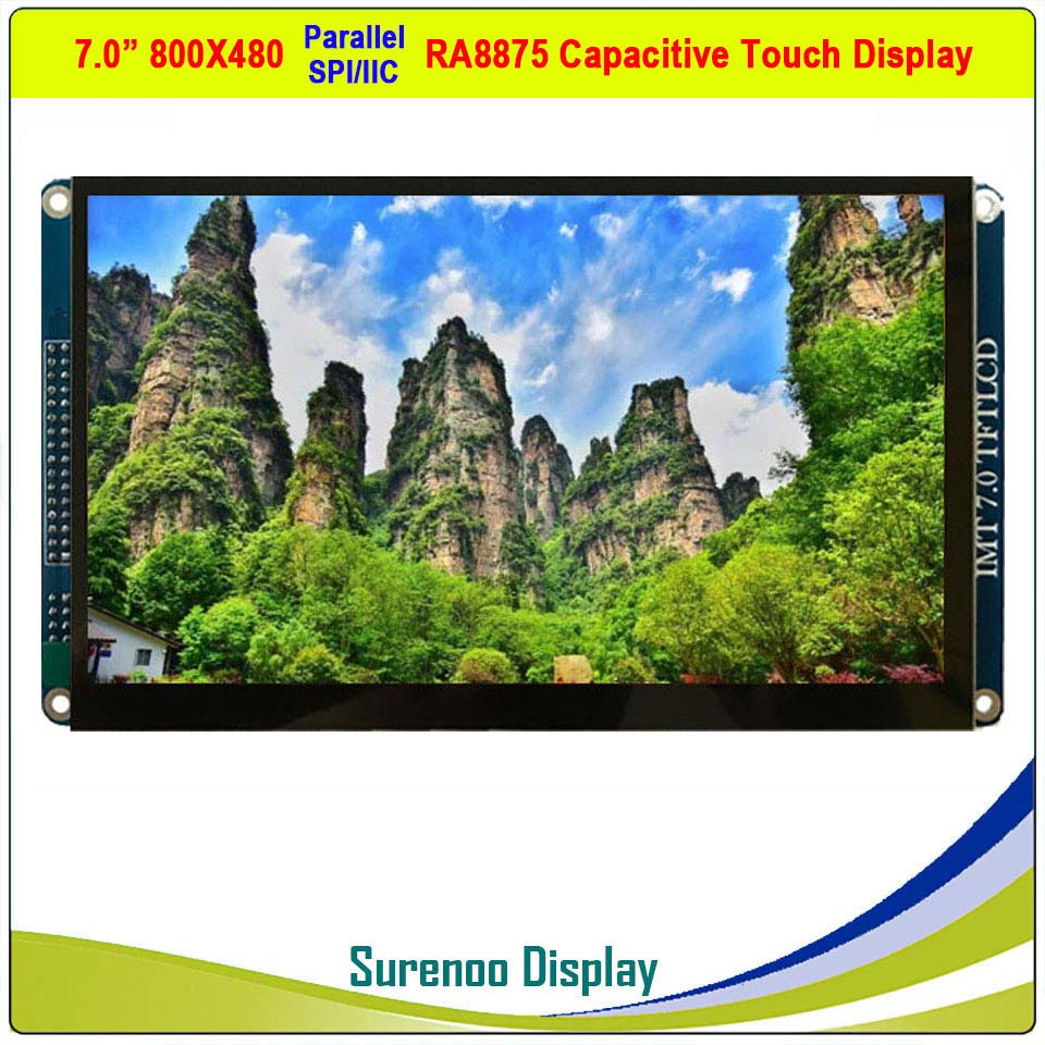 """7"""" Inch 800*480 RA8875 TFT LCD Module Display Screen Monitor & Resistive / Capacitive Touch Panel Parallel / SPI / IIC / I2C"""