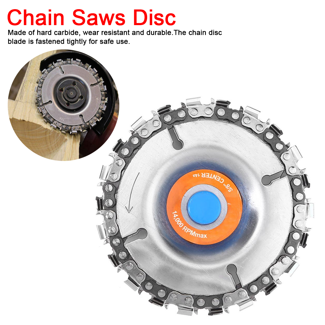 4 Inch 22 Teeth Grinder Chain Disc  5/8 Inch Arbor Wood Carving Disc Saw Blade Cutting Piece Wood Slotted Saw Blade