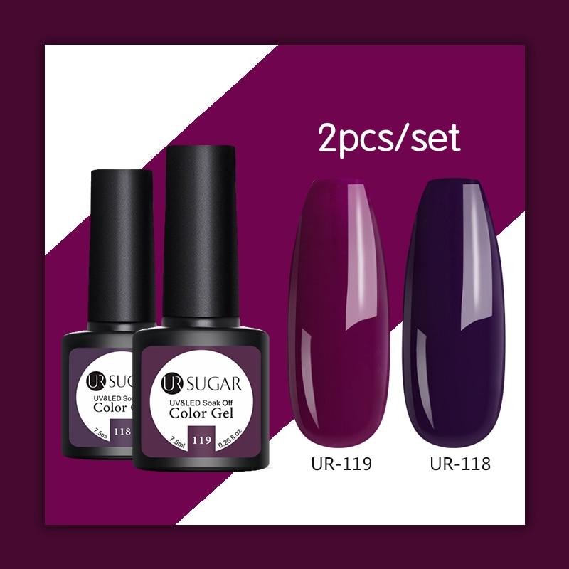 UR SUGAR 2pcs/set UV Gel Nail Polish Semi Permanent Soak Off Nails Art Painting UV LED Gel Varnish Nail Varnish 7.5ml