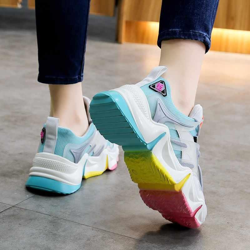 MBR LỰC LƯỢNG 2020 Mới Rainbow Chun Giày Sneakers Thời Trang Nữ Thoáng Khí cho Người Phụ Nữ Nền Tảng Lưu Hóa Giày Sneakers Nữ