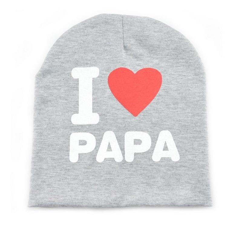 New Cute I Love Papa Mama Baby Hat Spring Kids Knitted Warm Cotton Beanie Hat Toddler Girls Boys