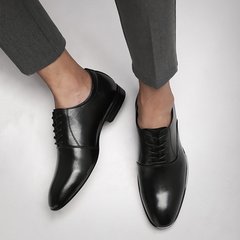 Genuine leather Classic Man Pointed Toe Dress Shoes Mens Cowhide Leather Plus Size Wedding Shoes Oxford Formal Official Shoes