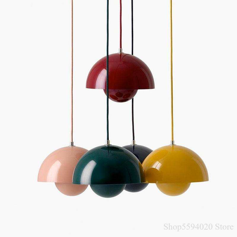 Danish Designer Pendent Light  Verner Panton Flowerpot Yellow Pendant Lamp Creative Minimalist Children Bedroom Bedside Lights