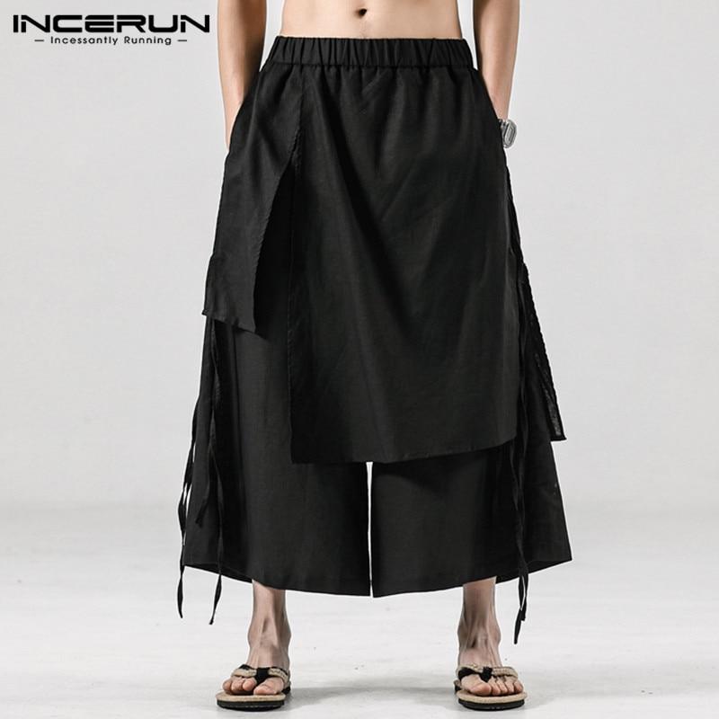 INCERUN Solid Color Men Casual Pants Joggers Elastic Waist Loose Irregular Skirt Trousers Men Streetwear Harajuku Wide Leg Pants