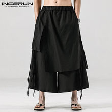 INCERUN-pantalones para correr informales para hombre, falda Irregular suelta, con cintura elástica, ropa de calle, pantalones de pierna ancha, Harajuku