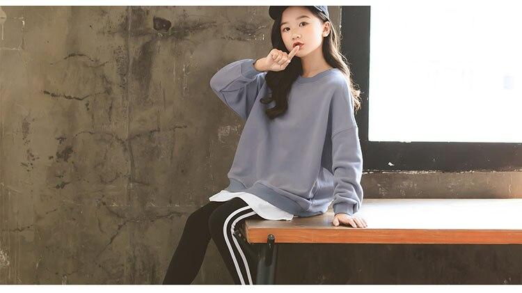 Gray Wool Loose Sweatshirts Teenage Girls Autumn Winter 2019 Sport Tops For Kids Long Sleeve O neck Patchwork Hoodies Clothing