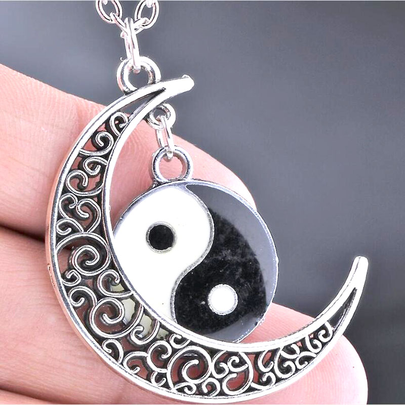 Women Necklace Moon&<font><b>Yin</b></font> <font><b>Yang</b></font> Pendant Necklaces Chain Statement Jewelry Choker Collier Collares <font><b>Colar</b></font> naszyjnik Gothic Wicca Hot image