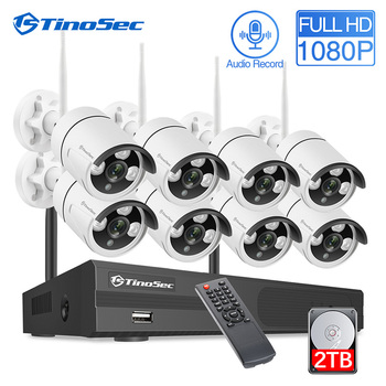 TinoSec CCTV Camera Security System 8CH Wireless NVR System 1080P Wifi IP Camera Outdoor Waterproof Home Security Kit Surveilla zosi 8ch h 265 1080p hd wireless wifi nvr kit indoor outdoor waterproof ip66 night vision security ip camera wifi cctv system