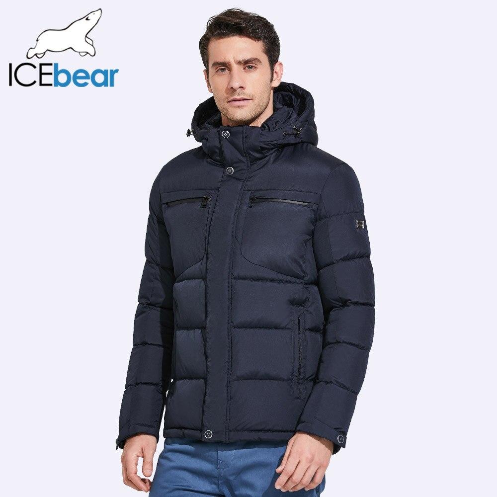ICEbear 2019 hommes vestes d'hiver poitrine exquise poche Simple ourlet pratique fermeture éclair imperméable à l'eau de haute qualité Parka 17MD940D