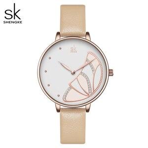 Image 1 - Shengke nova marca de luxo das mulheres relógio simples quartzo senhora relógio de pulso à prova dwaterproof água moda feminina relógios casuais reloj mujer