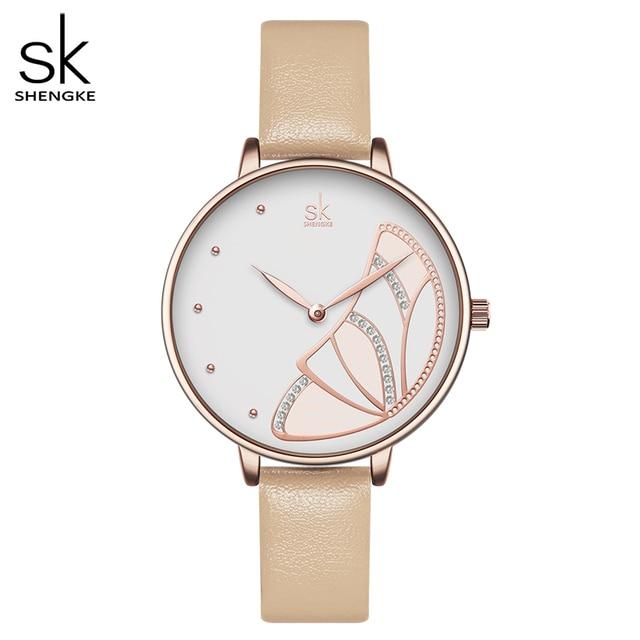 Shengke nova marca de luxo das mulheres relógio simples quartzo senhora relógio de pulso à prova dwaterproof água moda feminina relógios casuais reloj mujer