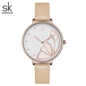 Image 1 - Shengke חדש נשים יוקרה מותג שעון פשוט קוורץ גברת עמיד למים שעוני יד נשי אופנה מזדמן שעונים שעון reloj mujer
