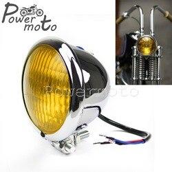 """Chromowane żółte szkło Vintage cafe racer Bobber reflektor 4.5 """"reflektor Brat Chopper niestandardowy motocykl 4.5"""" Retro reflektor na"""