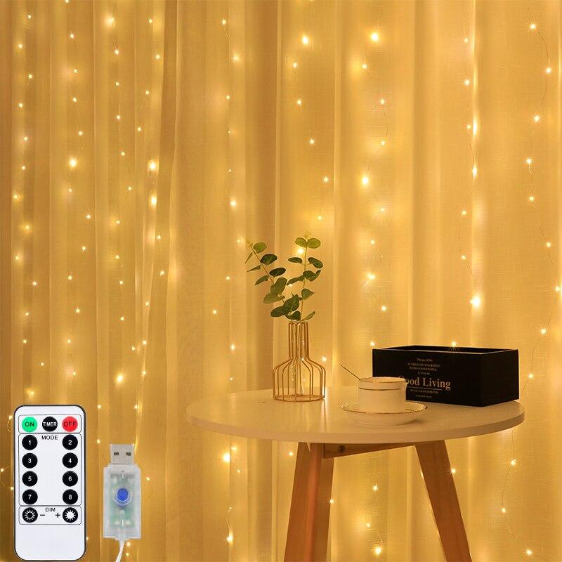 3m led string luz de fadas guirlanda cortina lâmpada controle remoto usb 5v ano novo natal decoração da janela do quarto casa