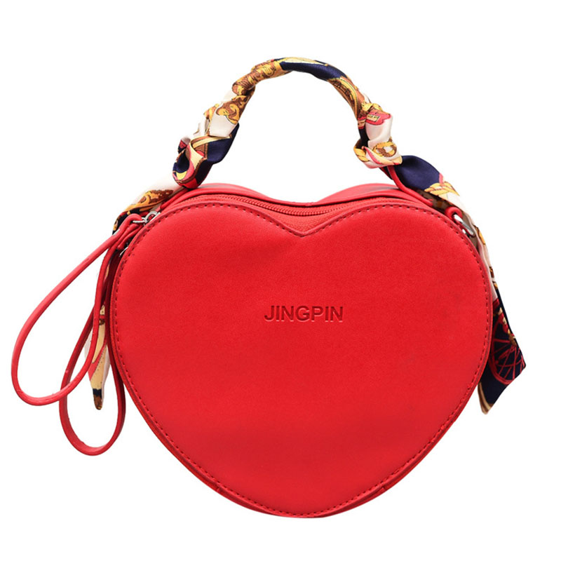 Leather Messenger Bag Women's Hot Sale Heart Shaped Solid Color Handbag Scarf Ladies Handbag Women Thin Strap Crossbody Bag
