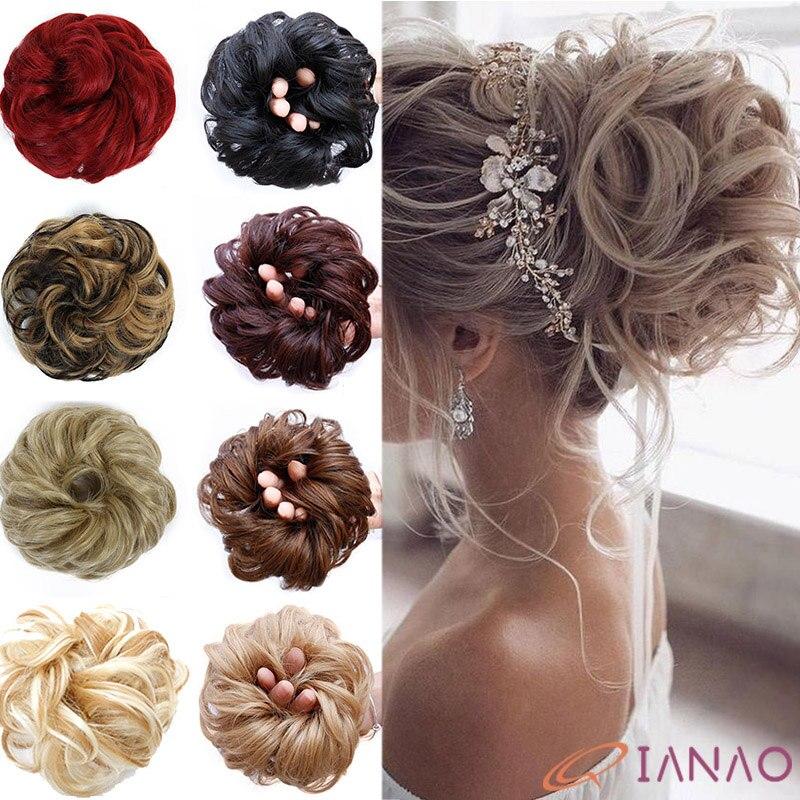 QIANAO Light brown Chingnon elasticity Fake Curly Bun Elastic Band Updo Braidal Hairpieces For Women False hair   Headwear