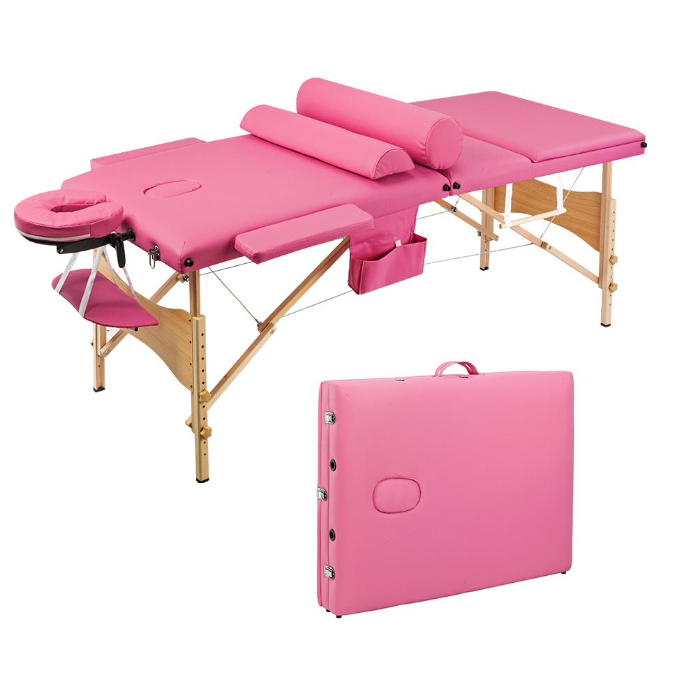 【US Warehouse】3 Sections Folding Portable Beauty Massage Table Set 70CM Wide Pink