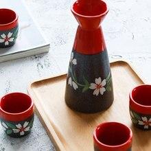 Vintage Ceramic Sake Pot Set with 4 Cups Japanese Cuisine Sake Bottle Pot Set