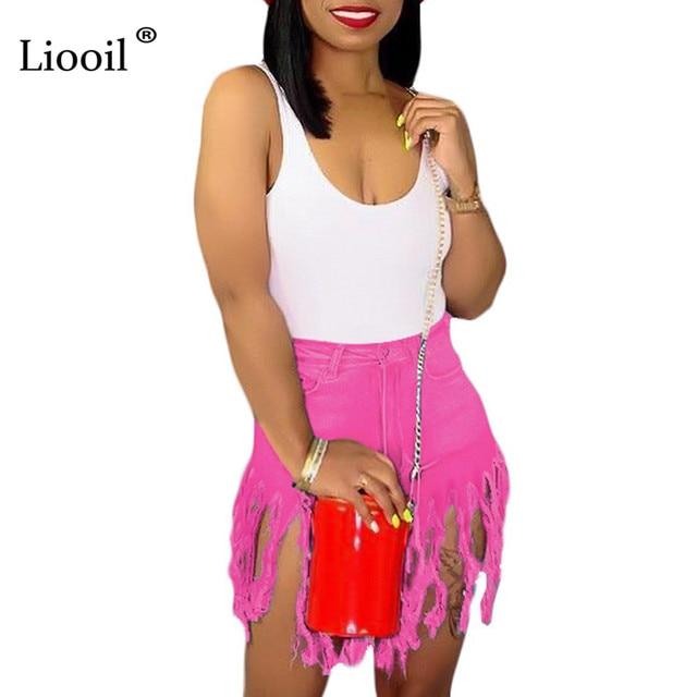 Liooil Neon Tassel Jeans Shorts Women 2021 Summer Elastic High Waist Cotton Jean Short Plus Size Sexy Denim Shorts Sexy Club 4