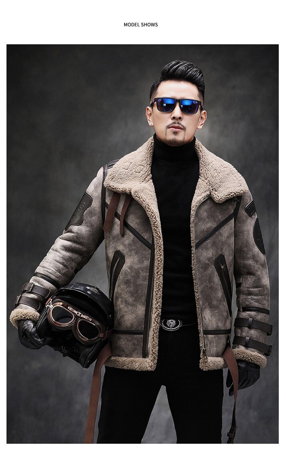 H8421123af5894493a2574149e8c70ea5v 2019 Fashion 100% Quality Real Sheepskin Fur Men Coat Genuine Full Pelt Sheep Shearling Male Winter Jacket Brown Men Fur Outwear