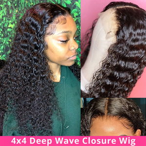 Image 2 - Deep Curly Lace Front Wig Human Hair Wigs For Black Women Deep Wave wig 150% Density Wet And Wavy Water Wave Lace Front Wig