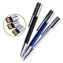 Логотип на заказ, металлическая шариковая ручка USB 2,0, USB флеш-накопитель, 64 ГБ, 32 ГБ, USB флеш-накопитель для офиса, бизнеса