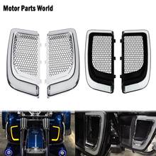 Motorcycle LED Fairing Lower Grills Turn Signal Running Light Lamp Black/Chrome For Harley Touring Street Road Electra Glide