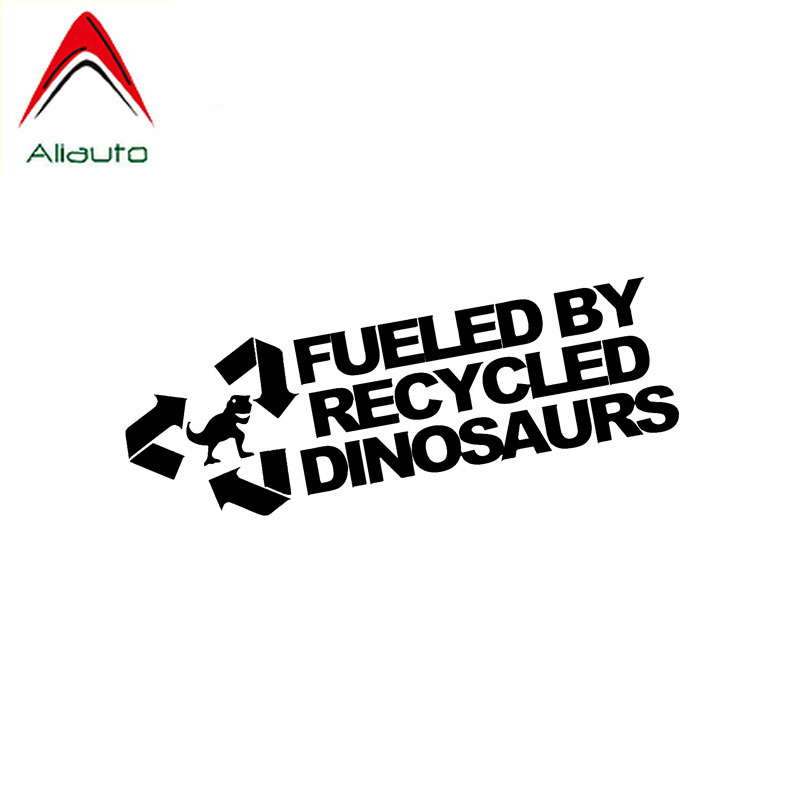 Aliauto Fashion Car Sticker Fueled By Recycled Dinosaurs Vinyl Waterproof Sunscreen Reflective Decals Black/silver,14cm*4cm