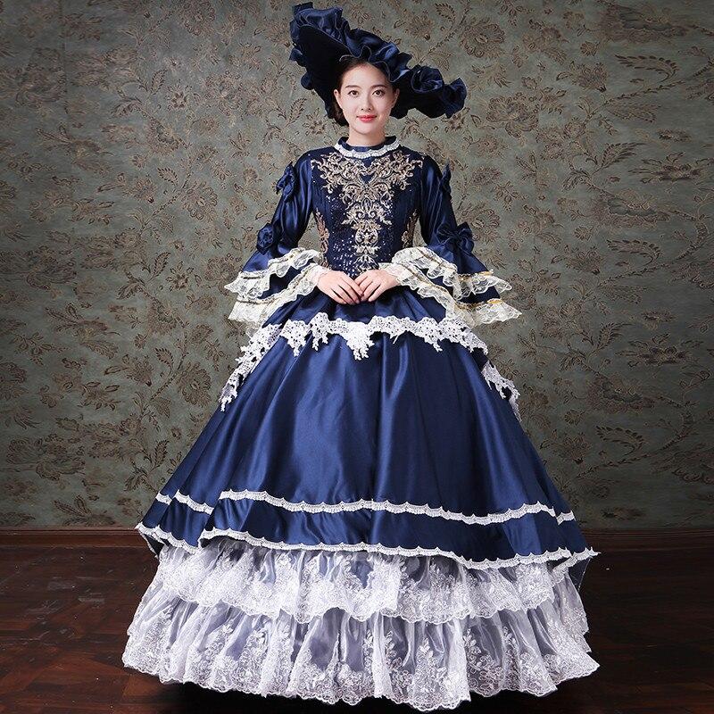 Femmes formel Court robe tenues Costume de fête mascarade grand arc robe de soirée balayage Train formel bal siècle Renaissance