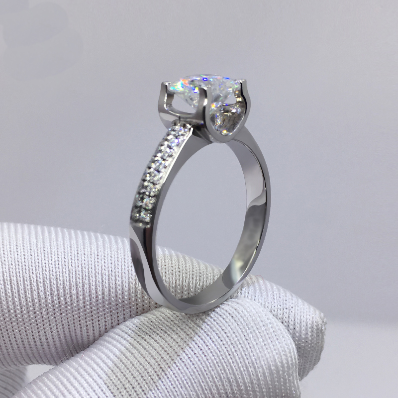 Big 98% OFF! Authentic 100% 925 Sterling Silver 8mm 2.0ct Zirconia Diamond Ring Wedding Fine Jewelry 2020 New Design 3