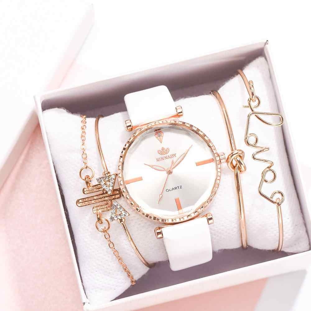 5 stücke Set Top Stil Mode frauen Luxus Leder Band Analog Quarz Armbanduhr Damen Uhr Frauen Kleid Reloj Mujer schwarz Uhr
