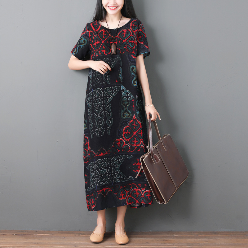 2019 Summer Wear New Style Long Skirts Fat Mm Loose And Plus-sized Slimming Literature And Art Large Size Dress WOMEN'S Dress